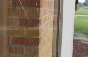 Someone or something caused one of the glass doors near the superintendent's office to break. Over summer break, the school installed $5,900 in camera equipment. Administrators now are learning how to replay specific footage to be able to have video documentation of exactly what happened during moments that caused damage like what is shown here.