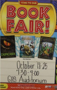 Come to the book fair, if you dare. The book fair is coming to Groom School. It was a big breakthrough the last six years by making almost $7,000 and soon it will be back.