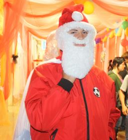Santa Clause takes time to visit