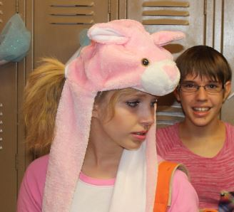 The Easter Bunny, aka Kylie Pickering, prepares for class with fellow sophomore Ashlee Stell.