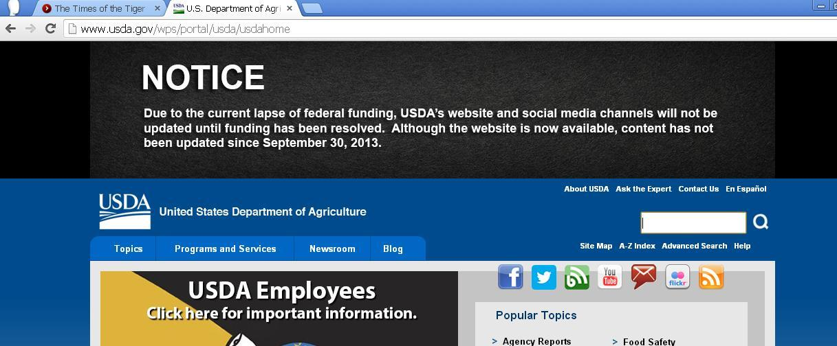 The following caption ran Oct. 14, 2013, with an article by Zach Holloway about the government shutdown that occurred that year. Could it happen again? ORIGINAL CAPTION - The U.S. Department of Agriculture carries a warning on its webpage that its content may not be up-to-date due to the government shutdown. Now, Groom students have found the reality behind this national news story has started hitting home. Some parents have already found their position status marked as
