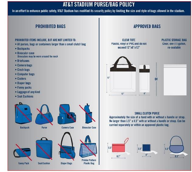 Groom fans need to be prepared to follow all of the AT&T Stadium rules, including the ones concerning what type of bags can be carried into the stadium. In addition to the bag rules covered in this graphic, the accompanying story offers a few more no-no's for fans to avoid.