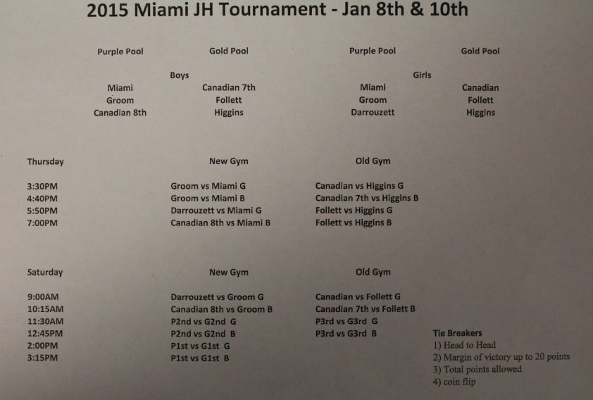 The 2015 Junior High Miami Tournament will be held Jan. 8 and Jan. 10. The tournament hosts revised the schedule today. The picture above shows the new bracket.