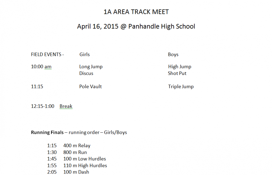 The high school track teams left this morning after the announcements to head to Panhandle for Day 2 of the Area track meet. The last bit of field events will be wrapping up shortly for the lunch break. However, due to forecasted inclement weather, the running finals will begin at 1:15, and will be on a rolling schedule.