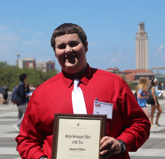 This past weekend, senior Jacob Clifton attended the ILPC Spring Convention in Austin. There he was awarded the online newspaper Editor of the Year. The paper also made the