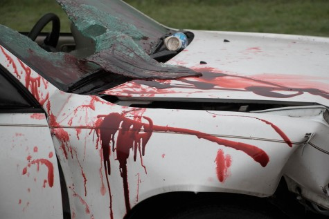 This is one of the two vehicles that participated in the Shattered Dreams program's 'mock crash' that occurred on that gloomy May 7 morning by Groom ISD. Both the vehicles were beaten and battered in blood and beer cans. The