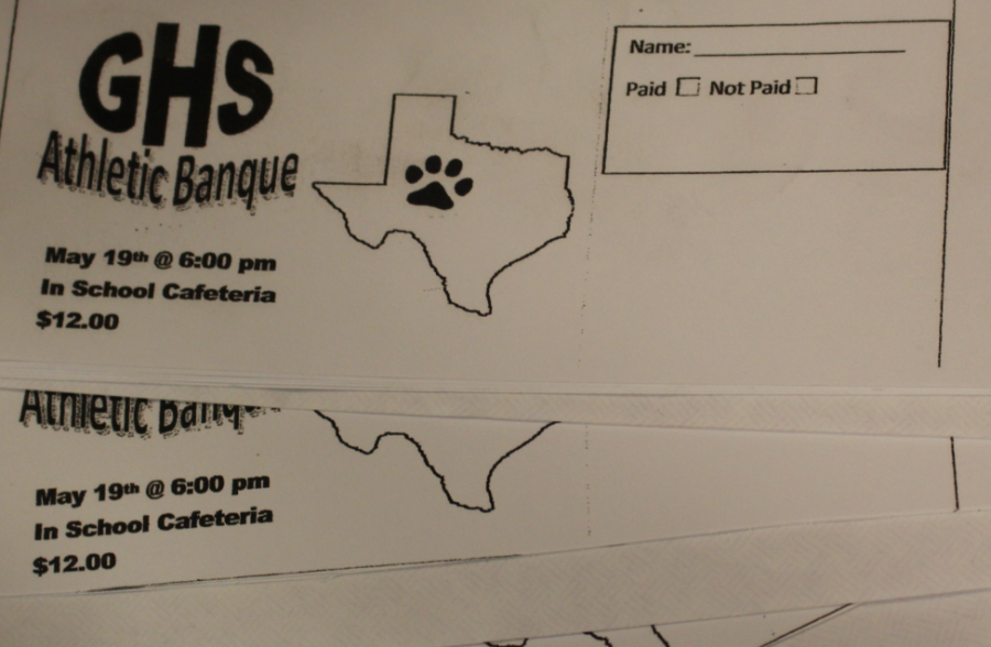 Groom Buster Club releases Athletic Banquet tickets. The banquet will be held Tuesday, May 19, at 6:00 P.M. in the School Cafeteria. Ticket prices are set at $12, anyone interested in purchasing a ticket should seek a student athlete.