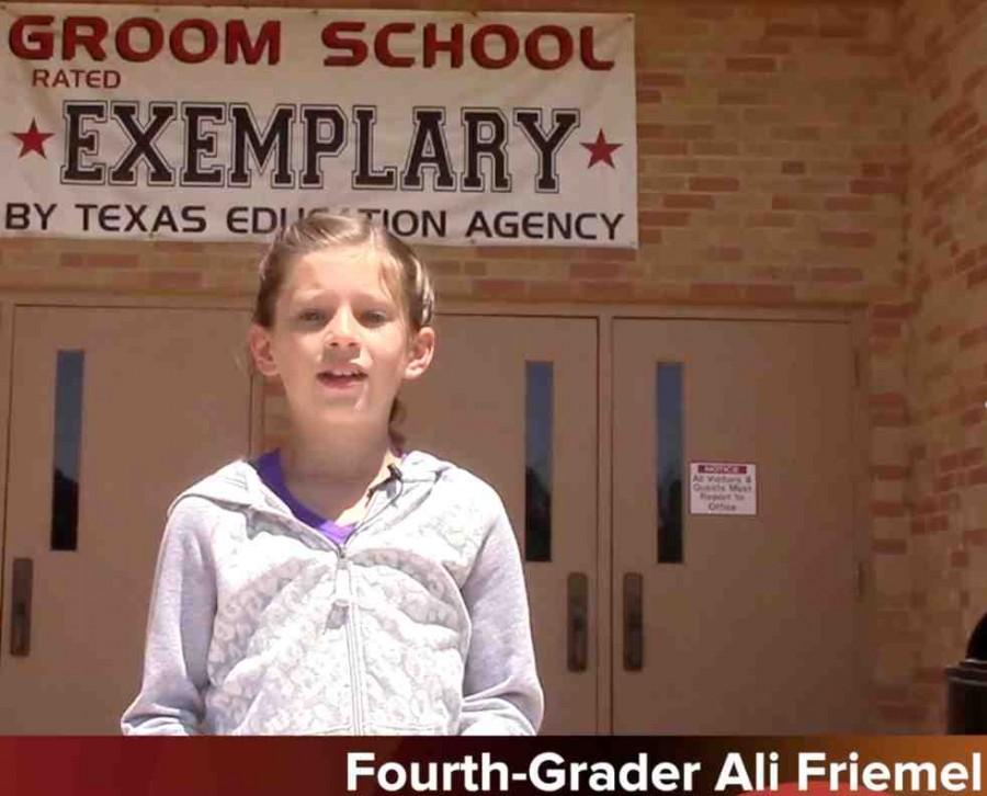 Fourth-grader Ali Friemel predicts todays weather for her classmates and for the readers of The Times of The Tiger online newspaper. Friemel is a member of Mrs. Kamy Whatleys science class. Ali is the third fourth-grader to go on camera with a weather report.