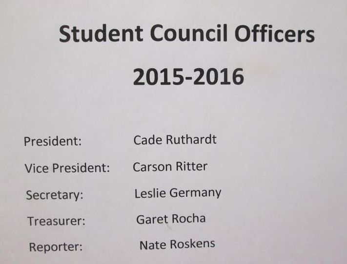 Senior Cade Ruthardt wins president spot. Juniors, Carson Ritter, Garet Rocha and Leslie Germany now hold executive positions, as well. Senior Nate Roskens takes the job of the reporter.