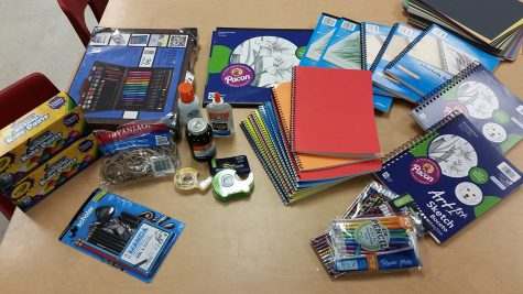 Prices for school supplies keep rising, so gifts like these from caring community members make teachers happy. Melanie Britten, who has been working at Groom School for 16 years, will be teaching an art elective for the second year.