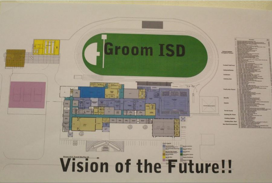 Superintendent Jay Lamb posts the plans for the new school outside his office. Students share what plans they're most excited about.