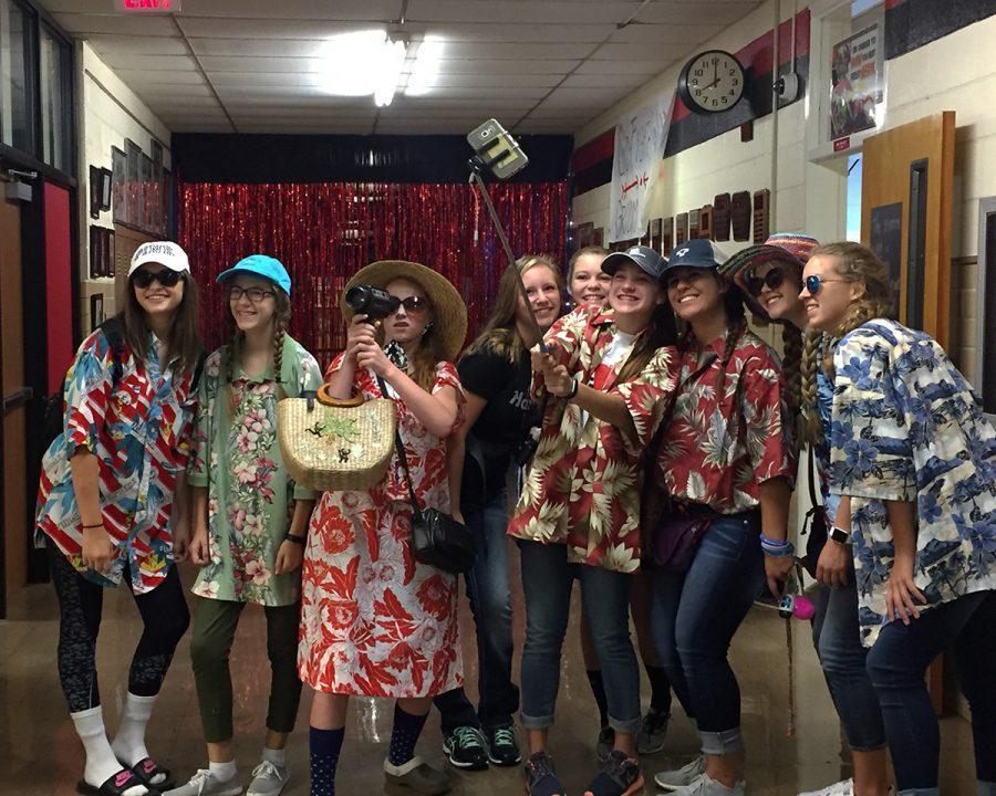 High school cheerleaders participate in