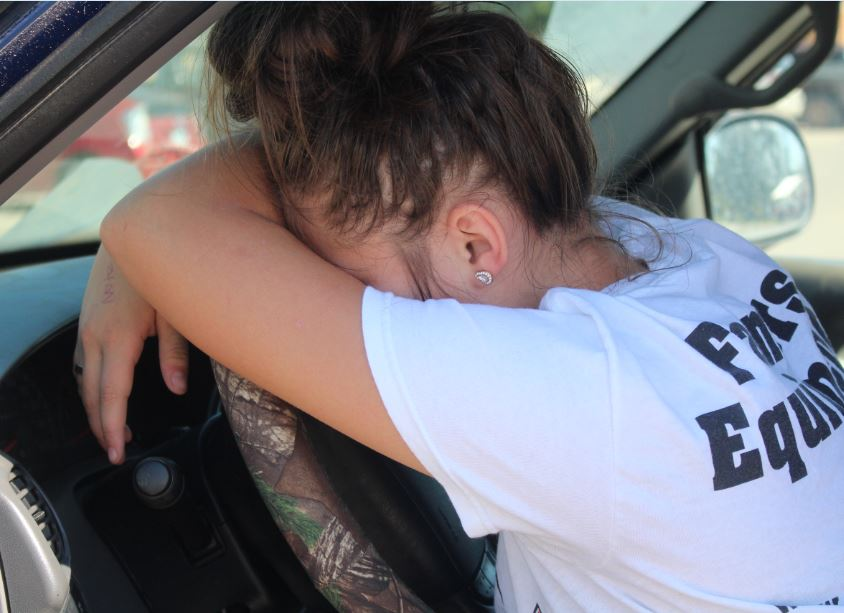 Junior Charity Perry takes a nap on her steering wheel. Perry talks about how drowsy driving affects Groom High School students, as well as adult drivers. Drowsy driving has led to 72,000 crashes, 44,000 injuries and 8,000 deaths in the past three years. During that same time period, drowsy driving has taken more lives than driving while intoxicated.