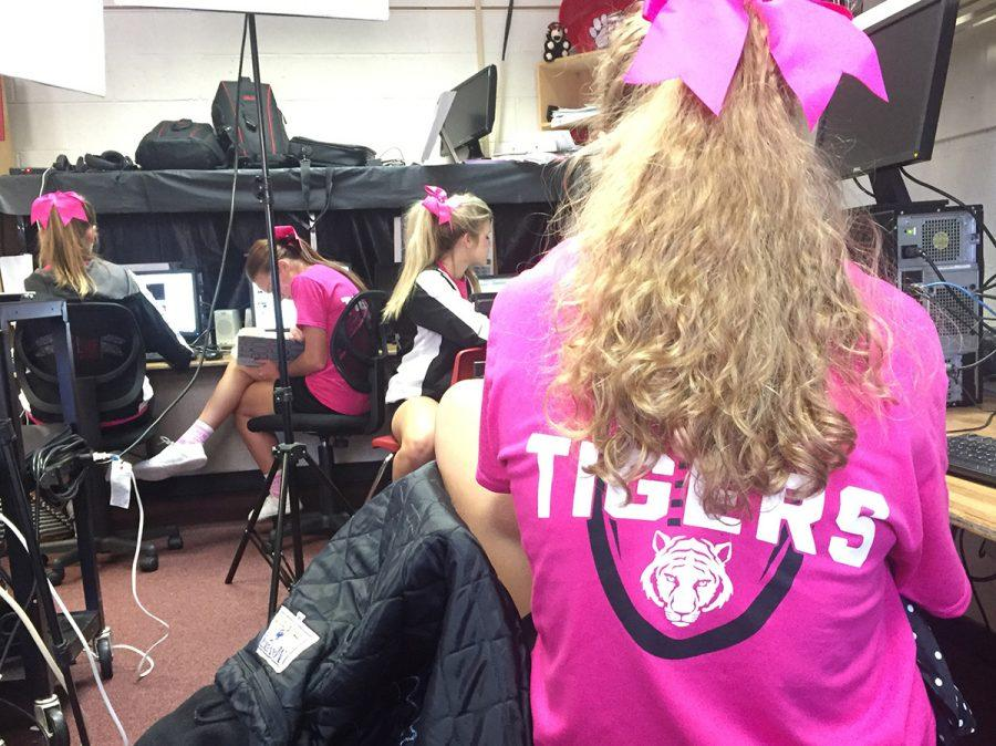 Students and faculty members dress up in pink for Breast Cancer awareness month. Friday afternoon, Oct 7, the cheerleaders will host a