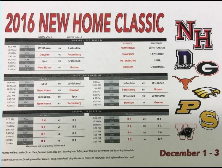 The Tigers and 'Ettes' will be in New Home for a tournament Dec. 1-3. All students going will leave the school on Nov. 30 at 12:45 and arrive in Lubbock around 3:45. The games will be played at New Home High School which is located 25 minutes southwest of Lubbock.