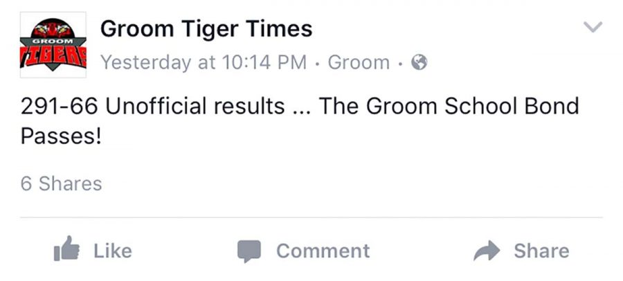 After several months of discussing the 2016 bond proposal for improvements at Groom School. The bond passed, and renovations will begin in the summer of 2017. I had no doubt that it would pass, Louise Harrell Mulkey said on the  Groom Tiger Times Facebook page. Groom people care about their children and grandchildren and want the best education possible for them, she continued. Thats why the school has survived and thrived all these years.