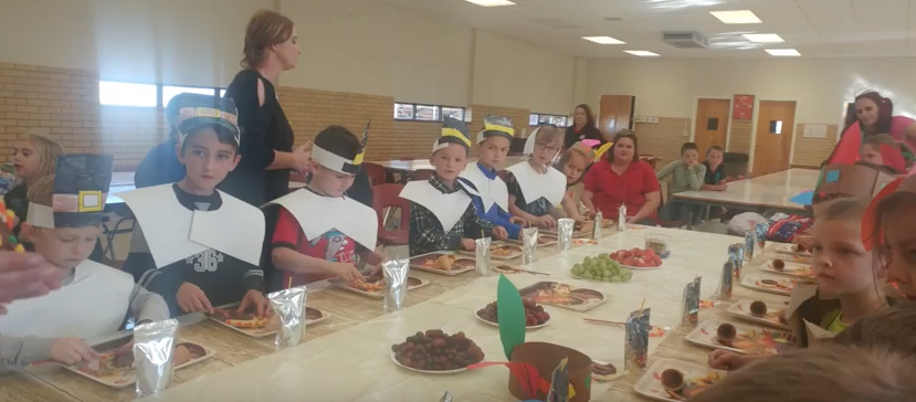 The kindergarten and first-grade classes came together on Nov. 22. To enjoy a feast. To get a closer look, check out freshman Kodi Tiffins broadcast package, complete with a few interviews with some special Pilgrims and Indians. Heres the link:  https://www.groomtigertimes.com/13804/showcase/a-feast-fit-for-the-grateful/