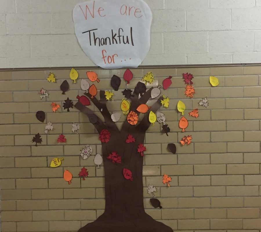 Groom students are thankful for several different things. Kindergarteners created a We are thankful Tree. Items they named included these: God, family, friends, food and parents.