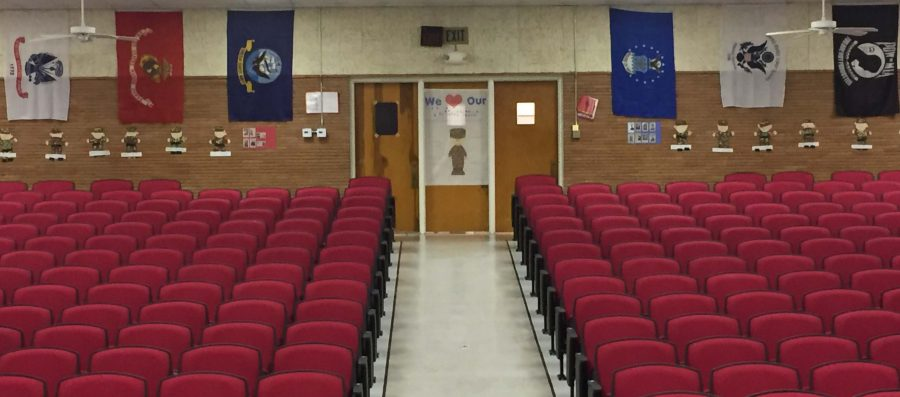 The important flags that are hanging up on the back wall of the auditorium are just a few of the decorations that you can find at the Veterans Program tonight at 6:30. The senior class will host a beans and cornbread supper, starting at 5 p.m. until the program begins. Then, the National Honor Society will induct their new members after the program.
