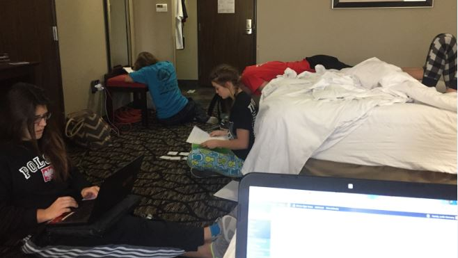 Ettes make time to have study hall while they attend the New Home Tournament. The Ettes will play Petersburg at 12 followed by the tigers, at 6 the Ettes will play Dawson at 6 followed by the Tigers. This is a great experience and a good opportunity for team bonding, freshman Ginna Miller said.