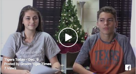 Junior Charity Perry and freshman William Kelly make daily announcements .