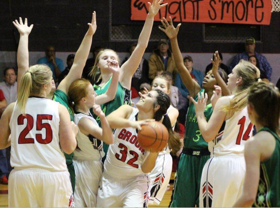 Junior Jamey Germany goes up for the shot. The 'Ettes won their game, 58-56.