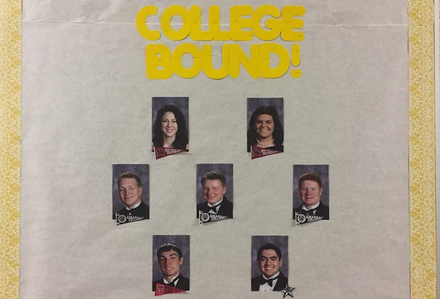 Counselor Kaitlyn Moritz created a board in the hallway just outside Aimee Fields room. It features the 2017 Groom seniors. These seven seniors have all been accepted into the college of their choice and are preparing for graduation in May. In my last school, we did something fun, we posted their senior pictures with little pennants for the school(s) theyd been accepted to, Moritz said. I thought I might do something similar here.  The board includes the following seniors: Caroline Briten - West Texas A&M University, Leslie Germany - WTAMU, Cody Kling - Amarillo College, Jeff Marshall - AC, Mason Miller - AC, Carson Ritter - Texas Tech University and Garet Rocha - South Plains College.