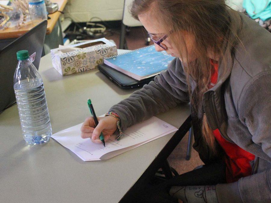 Freshman Kaylie Ritter looks over her practice STAAR test. Groom is instituting a new program,