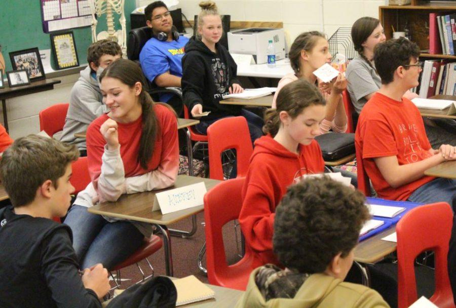 Today the eighth graders received their desk privileges back in math teacher Kylee Armenta's room. They have been standing to work for more than a month since some behavioral issues brought about this unique disciplinary measure.