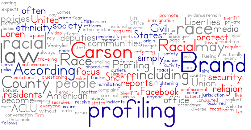According to several media reports, including this 2016 round-up of data and studies from Vanity Fair, racial profiling fears have become a common concern in society. Racial profiling policies are in place, including complaint procedures and regular review of video by supervisory staff is conducted in accordance with law, sheriff Loren Brand said on his Facebook page in an email to GroomTigerTimes. We remain vigilant and are always aware of the culturally diverse nature of our society.
