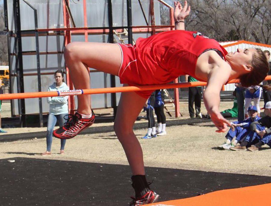 Senior Charity Perry high jumps at the Lefors track meet on Friday, March 3, and places third. Track is one of the many things that Perry has participated in throughout her years at Groom.