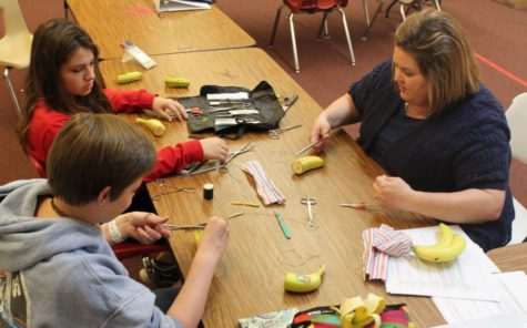 On Thursday, March 9, teacher Kamy Whatley instructs freshmen Hallie Thompson and Katelyn Burger in how to create and use a doctor's suture.  This class meets after lunch daily in the ag room.