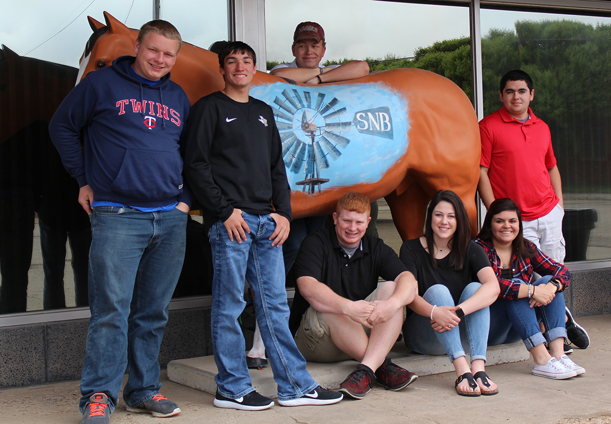 The 2017 seniors gather in front of the State National Bank of Groom on Broadway street. This photo is one of many that can be found among the 2016-17 yearbook ads. This year's senior class also has earned another point of recognition. These students have the highest percentage in FASFA completion for the entire Texas  Panhandle area, and thanks to a program sponsored by the P-16 Council at Region 16 and Amarillo's Education Credit Union, one of these students, who will be announced at the graduation ceremony on Friday at 8 p.m. in the GHS auditorium, will  receive an additional scholarship for that accomplishment.
