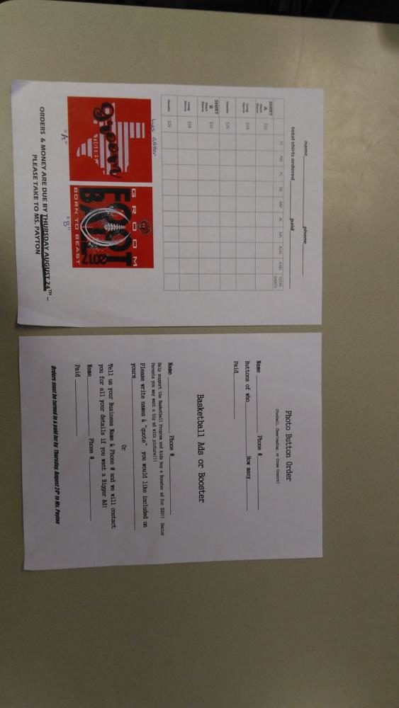 Pictured above are the order forms for t-shirts, photo buttons and basketball ads.
