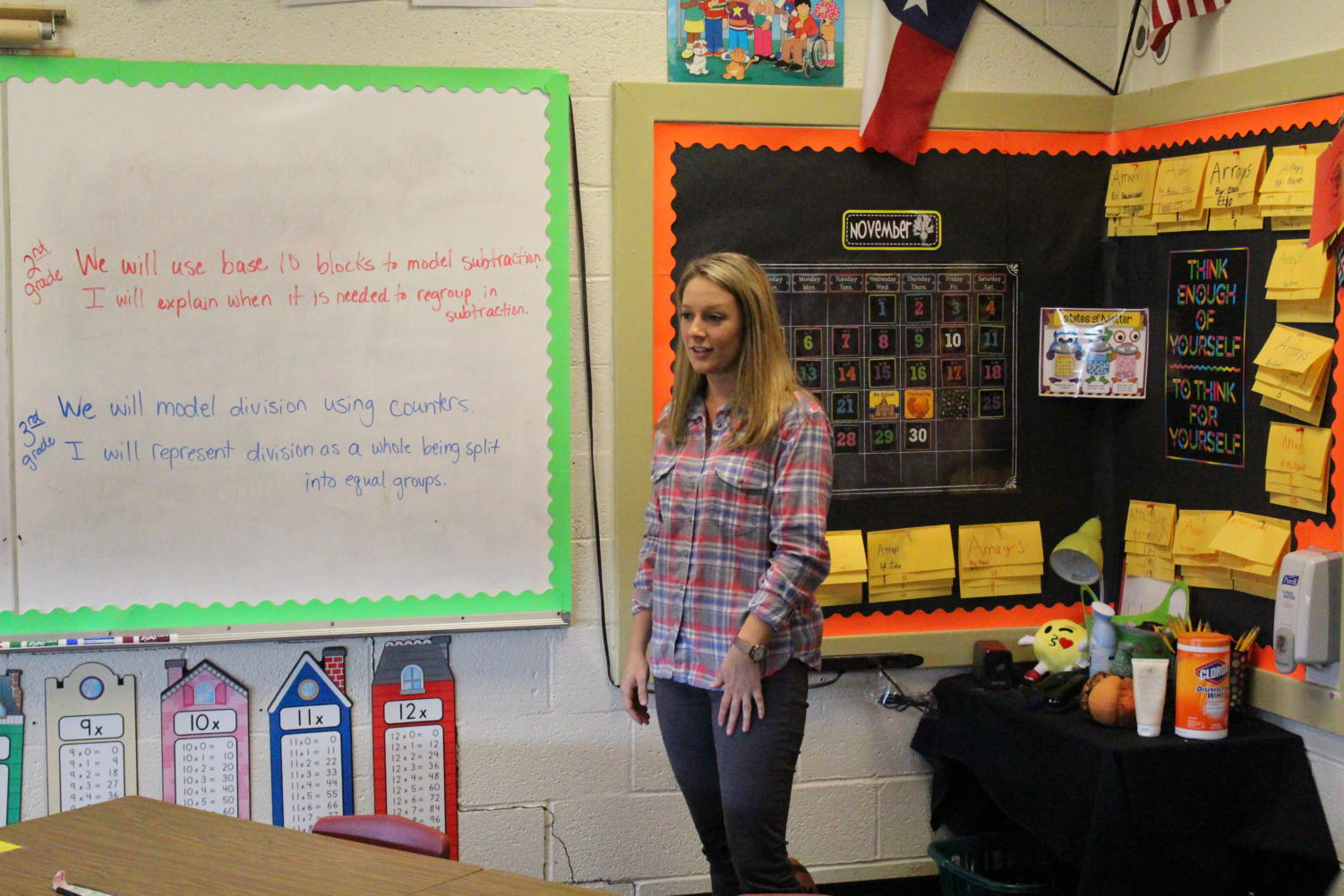 "Sarah Nichols prepares to lead her third grade students in a lesson. Nichols teaches second- and third-grade math and science in Groom this year. ""I don't do this for me,"