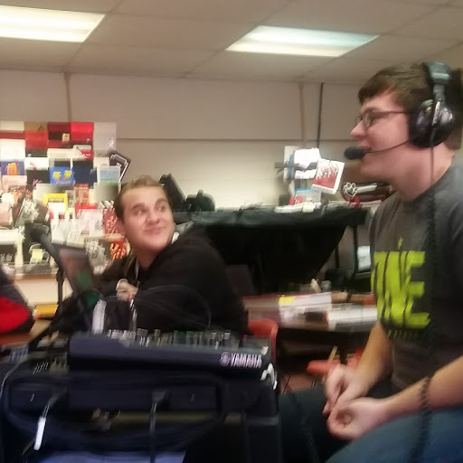 Junior Jaymon Row participates for the first time with GTTV station manager junior Matthew Bowen in the latest Journalism Department podcast. Row, Bowen and juniors Cayden Lambert and K'Leigh Keesee recorded this event during the CLAWS activity period on Dec 6.