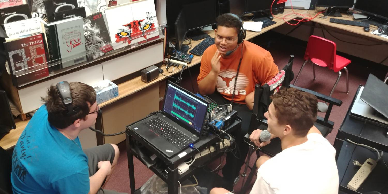 Junior Matthew Bowen runs the board and anchors as freshman Tre' Byers participates in his first podcast with Bowen and sophomore William Kelly. They talk about recent news that affects Groom students. This Podcast includes celebrity presidents, first time getting