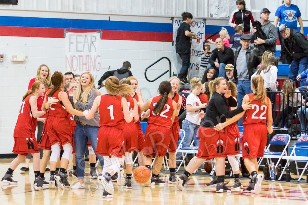The Ettes' celebrate with each other after defeating White Deer for the second time earning the second seed for playoffs. They will face Follett in Miami on Tuesday, Feb. 13 in the bi-district round.