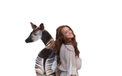 Courtesy of photo shop, junior Sydney Ritter poses with an okapi, her favorite animal. Ritter decided to write a column about this unusual creature.
