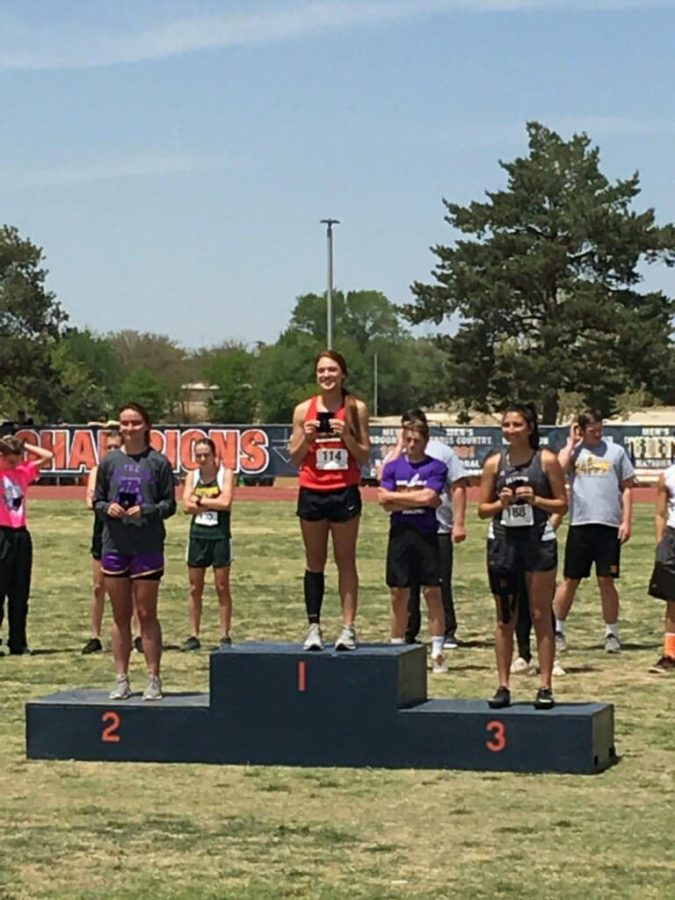 Junior++Sydney+Ritter+claims+her+first-place+medal+in+triple+jump+at+the+Regional+Track+Meet%2C+which+began+today%2C+April+27%2C+in+Levelland+at+the+South+Plains+College+Campus.+Ritter+jumped+36%276.75%22+to+claim+first+and+a+spot+for+her+third+year+in+a+row+to+the+state+track+meet.+She+also+will+be+running+in+the+finals+tomorrow+of+the+100-meter%2C+200-meter+and+400-meter+races.+The+boys+4-by-400-meter+relay+team+also+will+be+running+in+finals+tomorrow.+See+the+attached+link+to+see+all+of+the+results+from+Day+1.