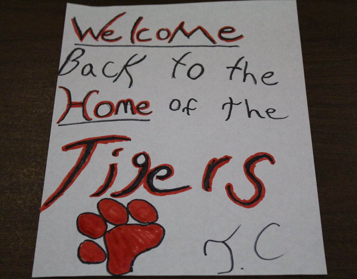 A sign created by Jaymon Row sits welcoming back the students of Groom School from their summer. After having 85 days of summer students return back.