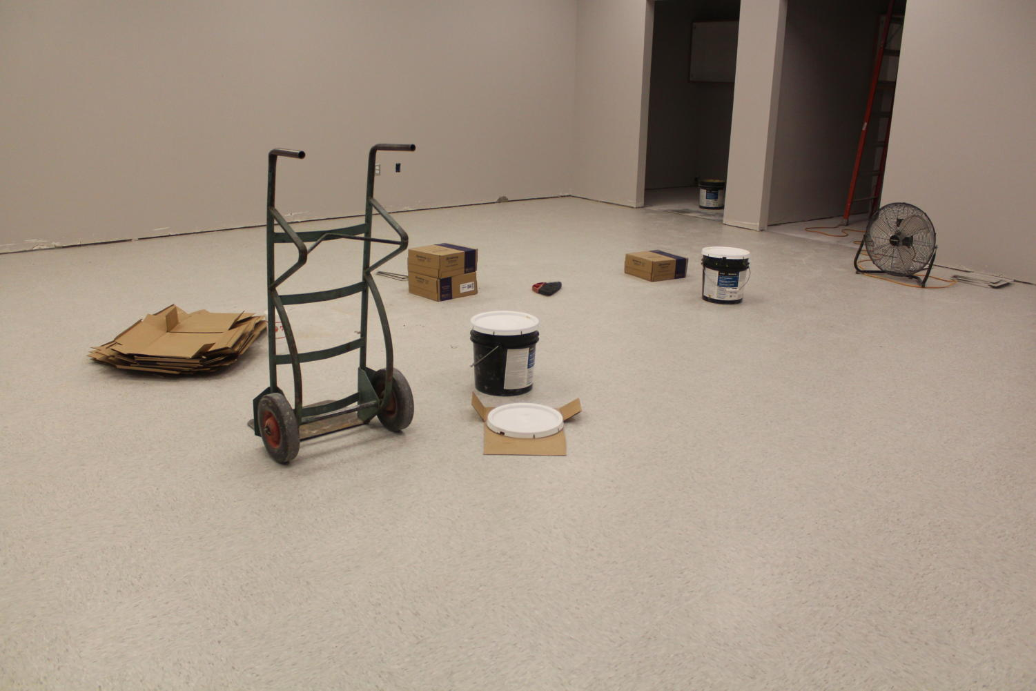 The new journalism room gets the finishing touches. The room received a tile floor, cabinets, outlets, and more.