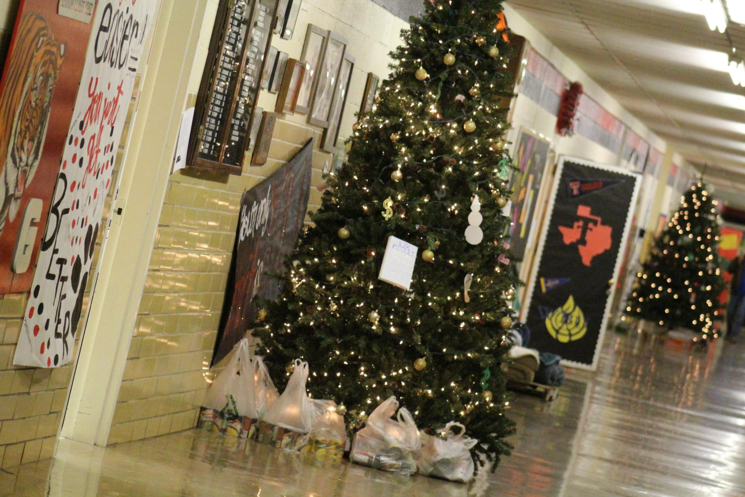 The canned food that has been donated is put under the tree. The elementary, junior high and high school each have their own tree. The students with the most food will get a prize!