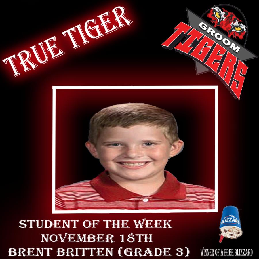 """""""True Tiger"""" Student of the Week: Brent Britten (Third Grade)-Nov. 18"""