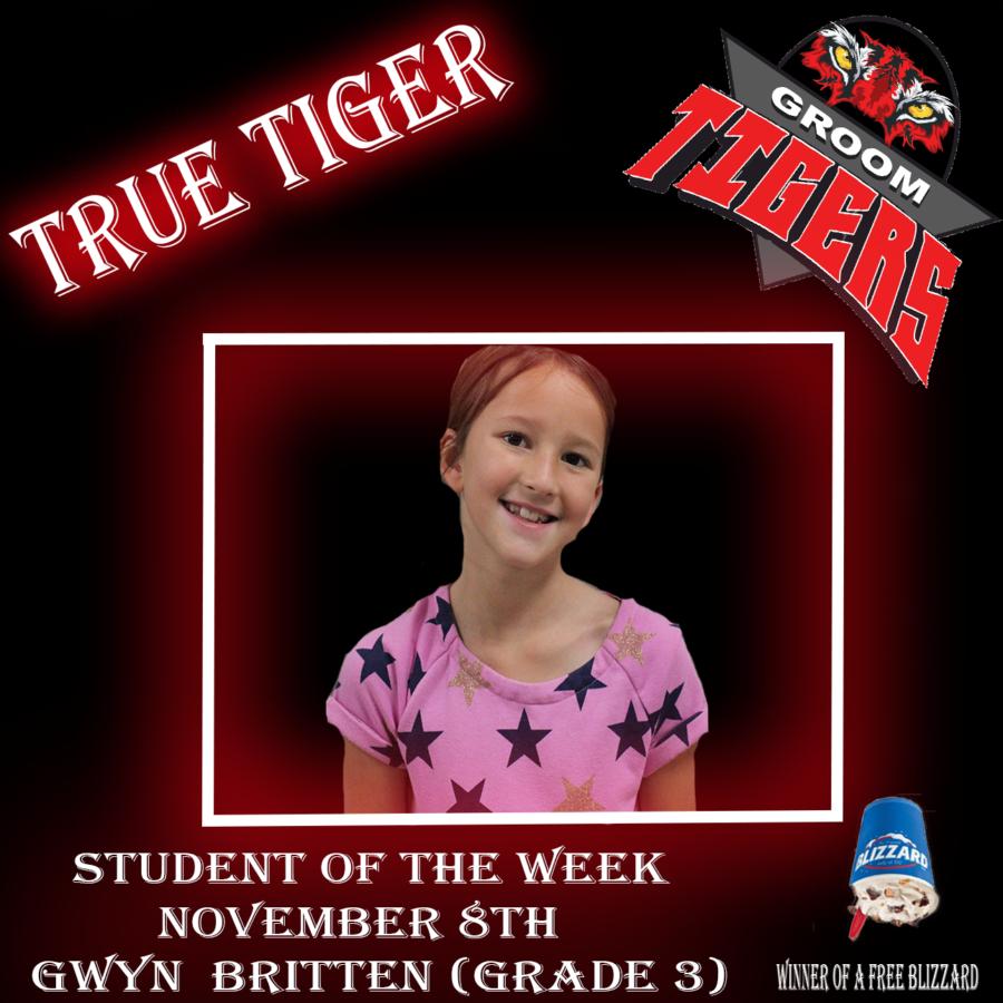 """True Tiger"" Student of the Week Gwyn Britten (Third grade)-November 8th"