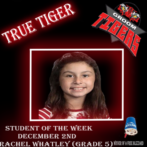 """True Tiger"" Student of the Week: Rachel Whatley (Fifth Grade)-Dec. 2"