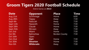 Groom 2020 Football Schedule