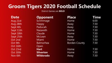 Groom 2020 Football Schedule