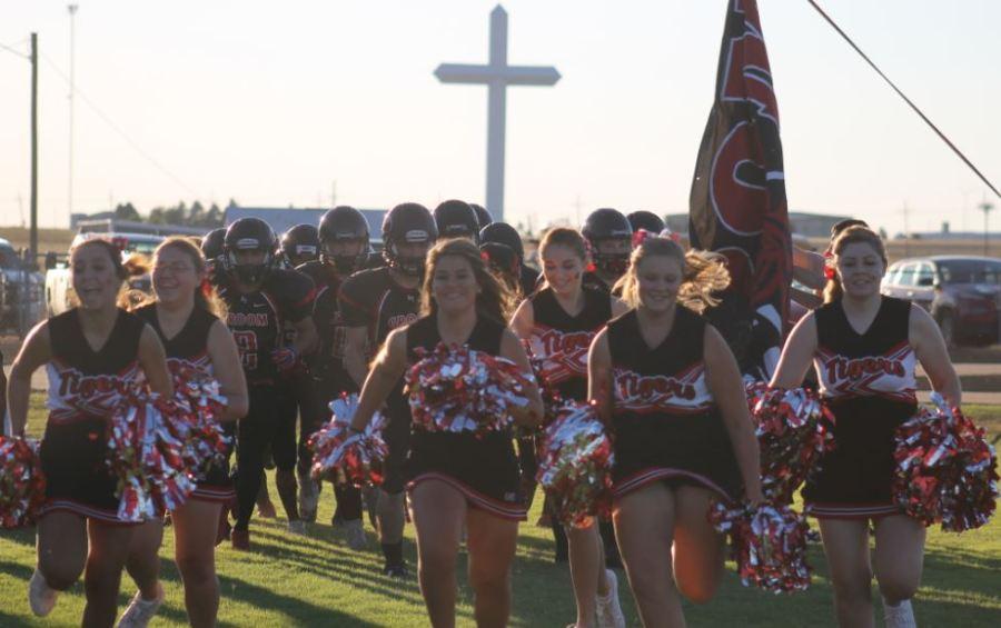 Cheerleaders take the lead in preparing homecoming days. Homecoming week begins Sept. 29 through Oct. 3.