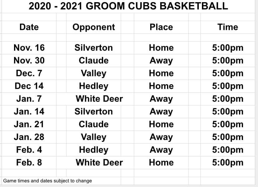 Cubs Junior High Basketball Schedule